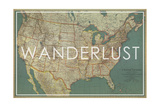 Wanderlust - 1933 United States of America Map Giclée par National Geographic Maps