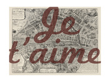 Je Taime - Paris, France, Vintage Map Giclée