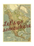 Let's go Somewhere - 1924 North America Map Giclée par National Geographic Maps