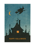 Happy Halloween  Witch Flying over House