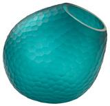 Vivo Wave Cut Glass Horn Vase - Teal