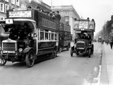 Buses Driven by Volunteers Seen Here in Oxford Street During the 10th Day of the General Strike