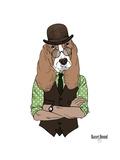 Basset Hound in Retro Style