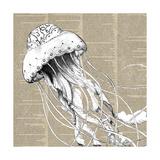 Underwater Newsprint Creatures I Reproduction d'art par A Fresh Bunch
