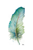 Watercolor Feather White IV