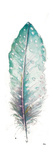 Watercolor Feather White I