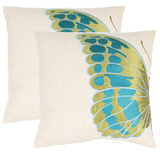 Indra Blue Wing Pillow Set Of 2 - Cream / Blue*