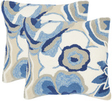Jacobean Floral Pillow Set Of 2 - Marine