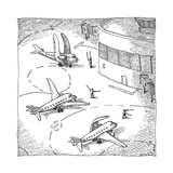 Airplanes on a runway match their wings to the shapes dictated by air-traf - New Yorker Cartoon