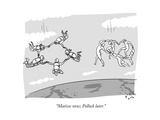 A group of skydivers fly though the air next to a group of figures from a … - New Yorker Cartoon
