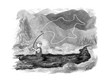 A fly fisherman casts back a reel that forms the shape of a giant fish abo - New Yorker Cartoon