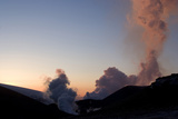 Plume of Ash from Eyjafjallajokull Volcano  Silhouetted Against Sunset  Southern Iceland