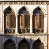 Venice - Architectural Detail of Ogee Windows with Shutters and Balconies
