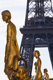 Statues of the Palais De Chaillot with the Eiffel Tower in the Background  Paris  France