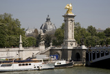 Boats on River Seine  Alexandre Iii Bridge with Pillar Topped by Gilded Statue  Grand Palais