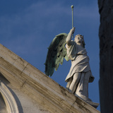 Scuola Grande Di San Fantin  Venice - Architectural Detail of Angel with Wings Above Pediment 1600