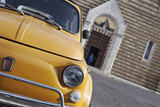 Classic Fiat 500 Car Parked Outside Church  Montepulciano  Tuscany  Italy
