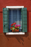 Window with Blue Venetian Blinds and Green Shutters Against Red-Brown Wall - Burano  Venice
