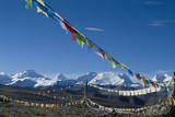 Himalaya Range with Prayer Flags in the Foreground  Tibet  China