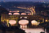 Ponte Vecchio and the River Arno at Dusk  Florence  Italy