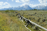 Wooden Fence at the Old Cunningham Cottage in Front of the Teton Range  Grand Teton National Park