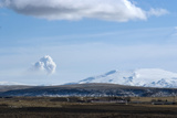 View of Plume from Eyjafjallajokull Volcano  Seen from Hotel Ranga  Hella  Southern Icelan
