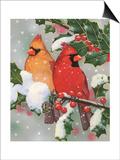Cardinal Couple with Holly