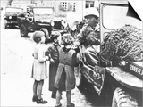Us Army Soldier Greeting Children with Sweets  Germany  1945