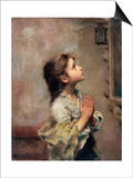Praying Girl  Italian Painting of 19th Century