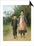 Boy and Girl on a Village Street  Ca 1897