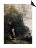 Shepherdess with a Cow at the Edge of the Forest  1865-1870