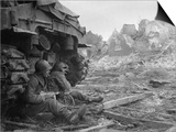 US Infantrymen Sheltering Behind a M-4 Sherman Tank During Heavy German Shelling