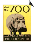 Visit the Zoo Poster with Hippopotamus