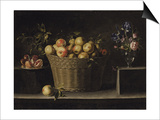 Apples in a Wicker Basket  an Pomegranate on a Silver Plate and Flowers in a Glass Vase