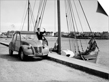 A Citroen 2CV on the Quay at a Harbour  C1957