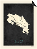 Black Map Costa Rica