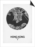 Hong Kong Street Map Black on White