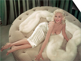 Jayne Mansfield Wearing a Close-Fitting Dress and a Fur Stole  C 1956