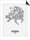 Athens Street Map White