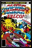 Captain America And The Falcon No205 Cover: Captain America  Falcon and Agron Fighting and Flying