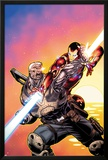 Avengers: X-Sanction No2 Cover: Cable and Iron Man Fighting