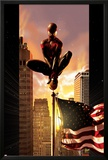 Ultimate Comics Spider-Man No7 Cover: Spider-Man Sitting on Top of a Flag Pole in the City