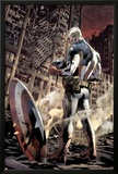 Ultimate Fallout No6 Cover: Captain America Standing  Looking at his Shield