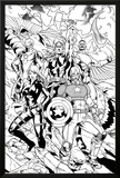 Avengers Assemble Inks Featuring Captain America  Black Widow  Thor  Iron Man  Falcon