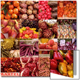 Multiple Views of Colourful Fruit and Vegetable Produce in Venice  Italy