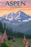Aspen  Colorado - Bear and Spring Flowers