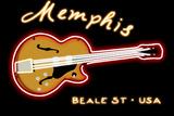 Memphis  Tennesse - Neon Guitar Sign