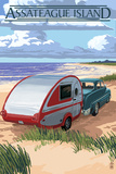 Assateague Island - Retro Camper on Beach