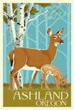 Ashland  Oregon - Deer and Fawn - Letterpress