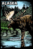 Alaska - Moose - Scratchboard